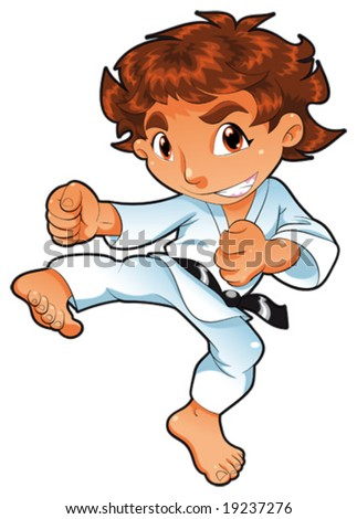 Baby Karate Player. Vector cartoon isolated character - stock vector