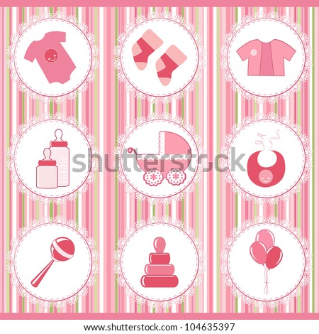 Baby labels. Design element. Vector illustration.