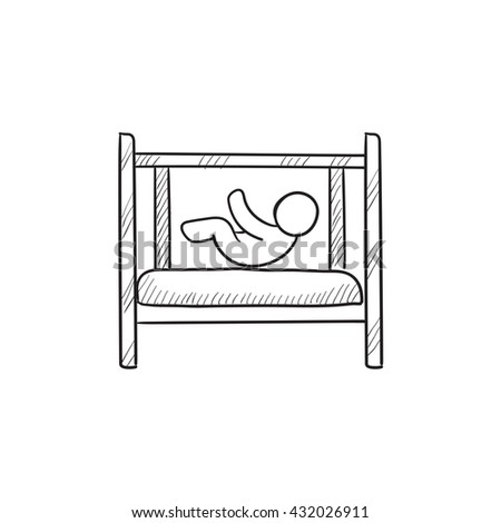 Baby laying in crib vector sketch icon isolated on background. Hand drawn Baby laying in crib icon. Baby laying in crib sketch icon for infographic, website or app. - stock vector