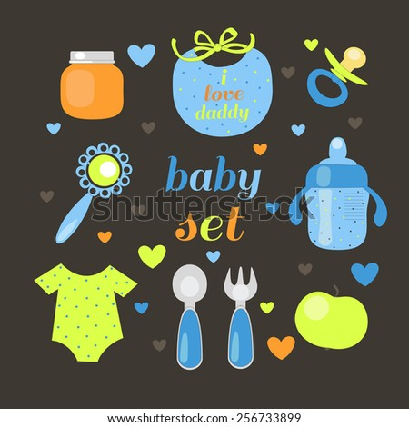 Baby meal set . Baby shower - stock vector
