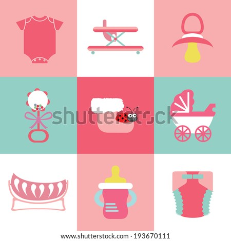 Baby objects icon set - stock vector