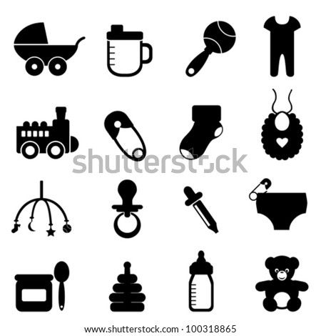 Baby objects icon set in black - stock vector