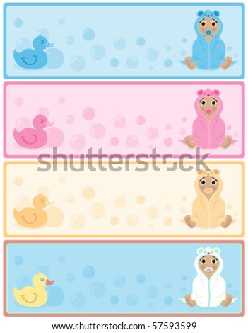 Baby of african descent in a hooded towel banners with copy space in 4 color options. Each individually grouped and on separate layers.