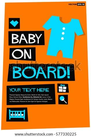 Baby On Board Flat Style Vector Stock Vector 577330201 - Shutterstock