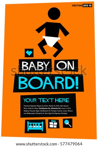 Baby On Board Flat Style Vector Stock Vector HD (Royalty Free ...
