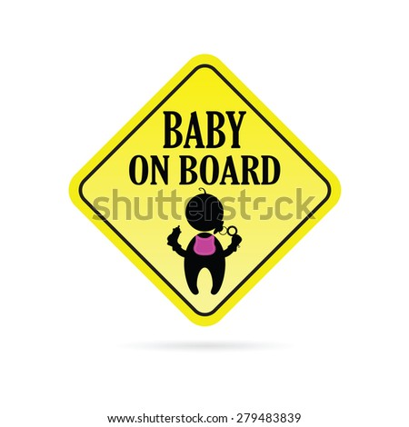 baby on board secure yellow vector
