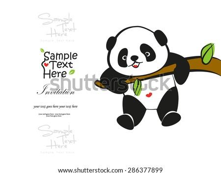 Baby Panda climbing the tree vector design - stock vector