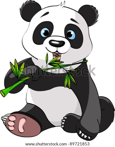 Baby Panda Sitting And Munching On Bamboo - stock vector