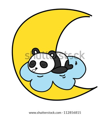 baby panda sleeping on the cloud with the moon vector illustration - stock vector
