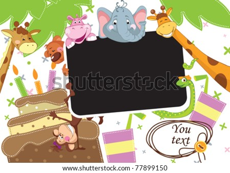 Baby party. Children Frame for baby photo album.  All objects are located on separate layers. - stock vector