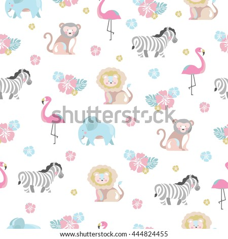 Baby pattern with jungle animals and flowers - stock vector