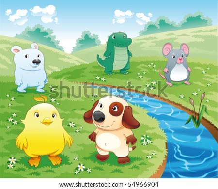 Baby pets near the river. Funny cartoon and vector illustration. - stock vector