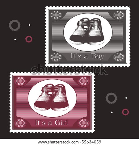 baby postage stamps - stock vector