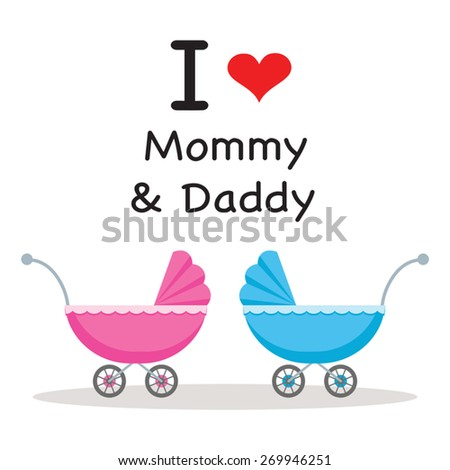 Baby pram, stroller or carriage. I love Mommy and Daddy. - stock vector