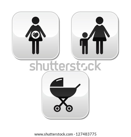 Baby pregnancy buttons set - carriage, motherhood, family - stock vector