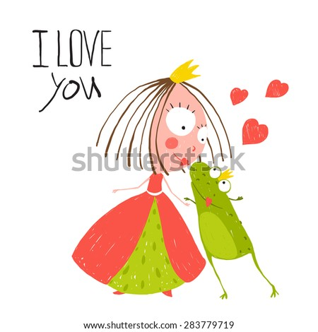 Baby Princess and Prince Frog Kissing. Kids love story cute and fun hand drawn colored illustration. - stock vector