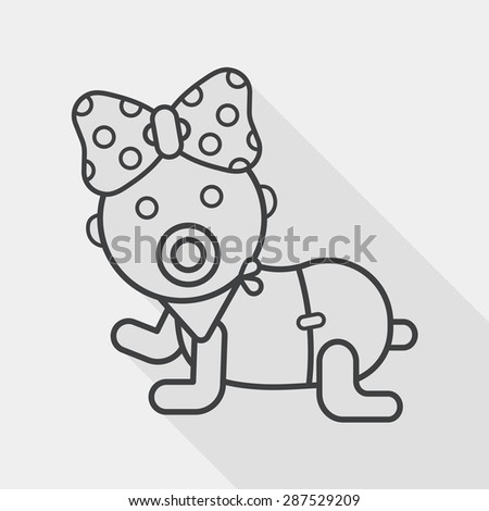 baby rattle flat icon with long shadow, line icon - stock vector