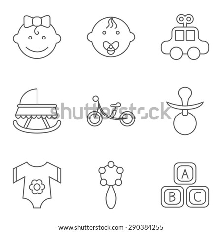 Baby related flat vector icon set for web and mobile applications. Set includes - boy, girl, car, crib, bicycle, nipple, clothing, rattle, blocks. Logo, pictogram, icon, infographic element. - stock vector