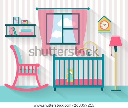 Baby room with furniture and  rocking chair. Nursery interior. Flat style vector illustration. - stock vector