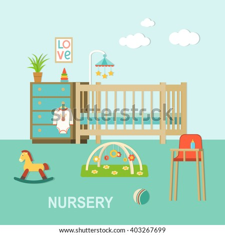 Baby room with furniture.Nursery interior.Flat style vector illustration - stock vector