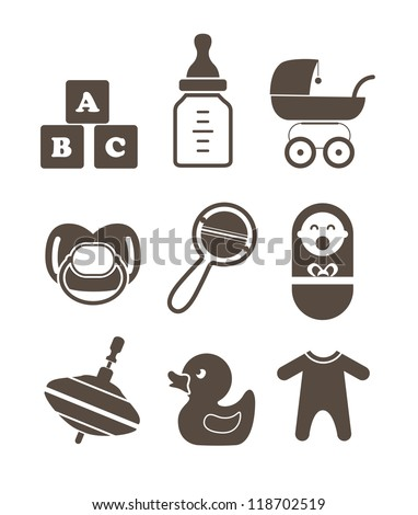Baby`s accessories silhouettes collection isolated on white - stock vector