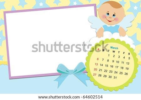 Baby's monthly calendar for march 2011 with photo frames (EPS10)