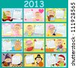 Baby's monthly calendar for year 2013 - stock photo