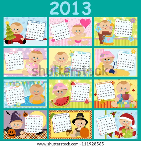 Baby's monthly calendar for year 2013 - stock vector