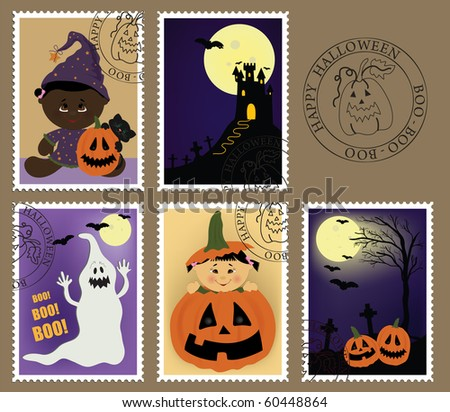 Baby's postage marks and stamps with halloween theme (EPS10) - stock vector