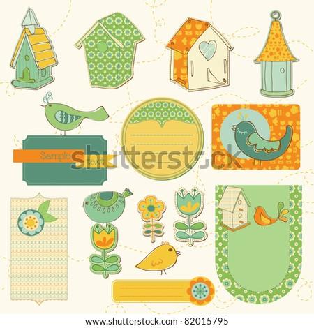 Baby Scrap with Birds and Bird Houses - stock vector