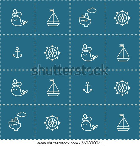 Baby sea seamless pattern. Thin line icons of ship, whale, boat, anchor, wheel. - stock vector