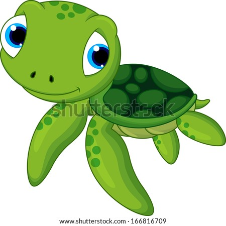 baby sea turtle cartoon - stock vector