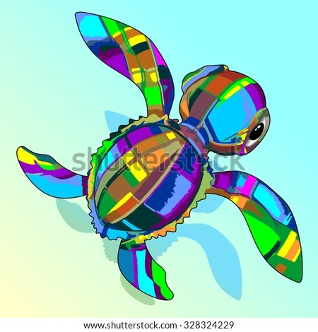 Baby Sea Turtle Fabric Toy  - stock vector
