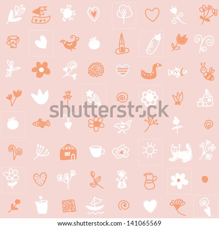 Baby seamless pattern with cute design in pink pastel colors