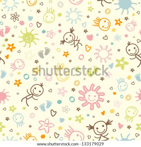baby seamless pattern with cute elements - stock vector