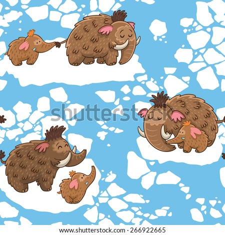 Baby seamless pattern with mammoths in vector - stock vector