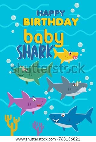 Baby Shark Birthday Card Vector Stock Image Vectorielle De Stock