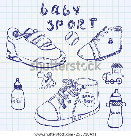 Baby shoes set sketch hand drawn on notebook paper.