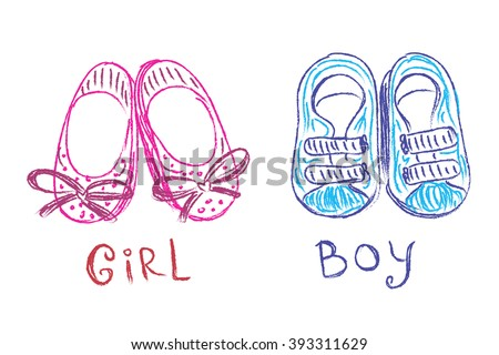 Baby shoes, sketch, doodle, hand drawn, vector illustration