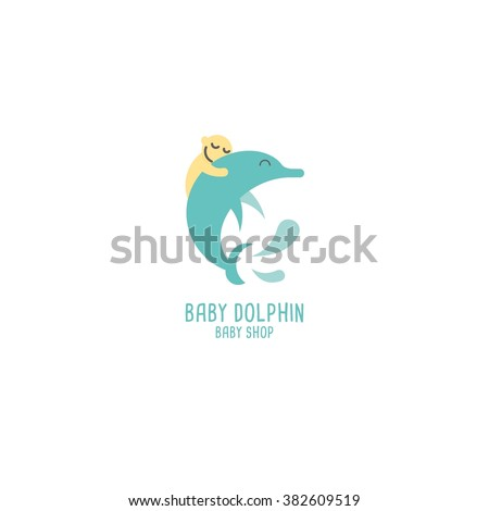 baby shop logo design template. cute dolphin shape vector illustration. best use for online shop, store, booth. white background - stock vector