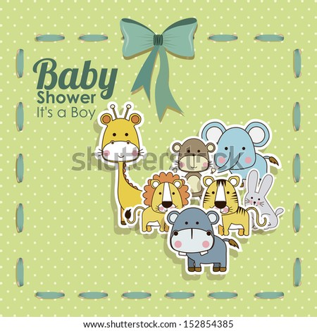 baby shower animals icons over dotted background vector illustration   - stock vector
