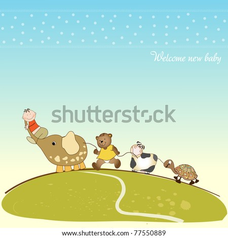baby shower announcement - stock vector