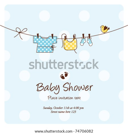 baby shower background template vector Cute unique hand drawn illustration  - stock vector
