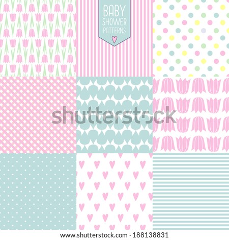 baby shower backgrounds. cute vector seamless patterns.  - stock vector