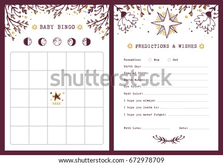 Baby shower registry card template gift stock vector 503946574 baby shower bingo template predictions and wishes dear baby card moon phases pronofoot35fo Gallery