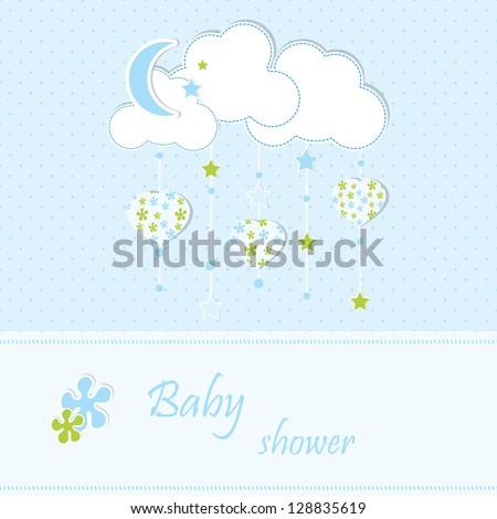 Baby shower - boy - stock vector