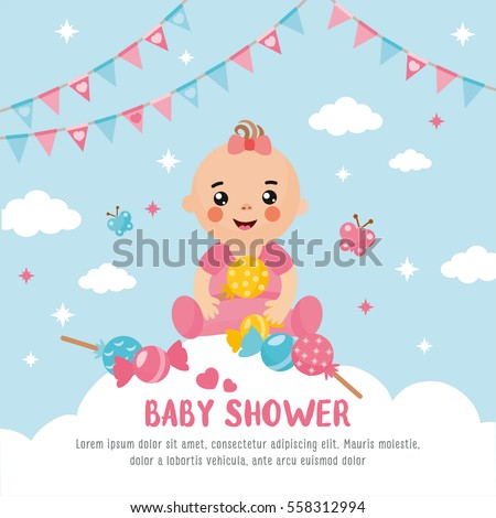 Baby Shower Card Cute Baby Cloud Stock Vector 558312994 - Shutterstock