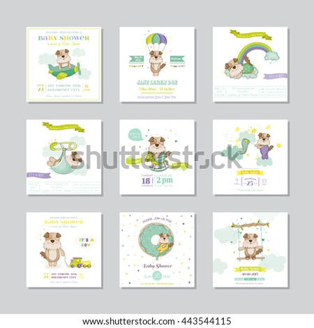 Baby Shower Card. Arrival Baby Card. Baby Dog Boy. Vector Set. - stock vector
