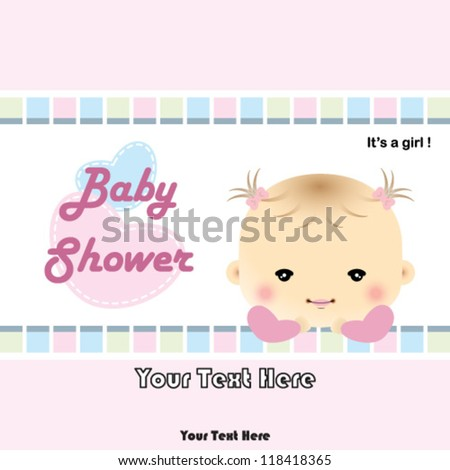 Baby shower card - baby arrival card - stock vector