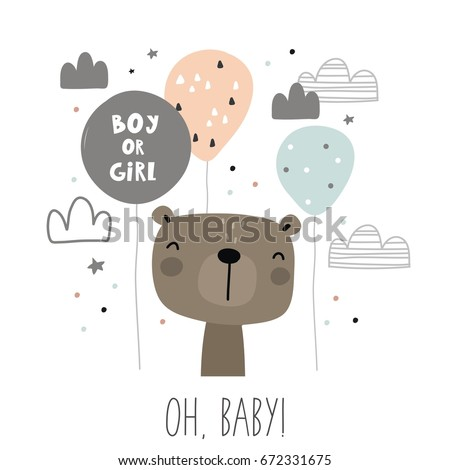 Baby Shower card design. Boy or Girl